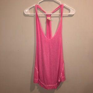 Free People distressed pink summer tank top